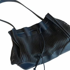 Linea Pelle Perforated Leather Drawstring Bag